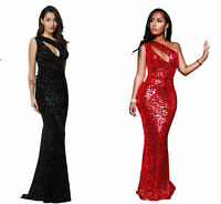 Sexy Bodycon Sparkle Sequin One-shoulder Long Evening Dress Women Red Party Gown