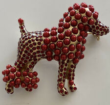 Dolce&Gabbana Signed Red Crystal Pearl Poodle Brooch