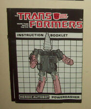 Hasbro Transformers Powerdasher drill instructions manual booklet G1 JH