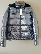 Miss Selfridge Silver Metalic Puff Jacket Short Hooded Padded Coat UK14 EUR 42