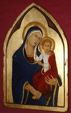 MADONNA CON BAMBINO icona sacra dipinta a mano su vecchio legno scavato a mano