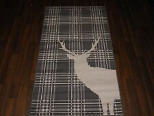 Modern Approx 5x2ft6 80x150cm Woven Top Quality Stag check Grey/Cream Rugs/Mats