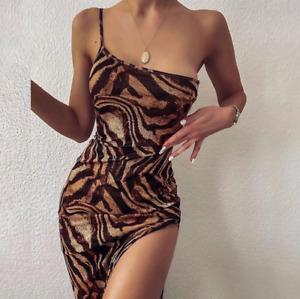 Summer women's clothing suspenders sexy split tiger pattern dress