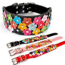 2''Wide Flower Studded Dog Collar Medium Large Soft PU Leather Adjustable S-XL