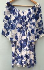 Alice Olivia Dress 4 6 Small Silk Blue White Cocktail Floral Off The Shoulder