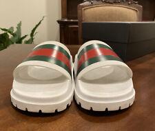 "White Gucci ""Web Slide"" Sandals WORN SZ 11"