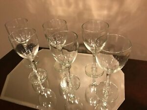 ANTIQUE CRYSTAL WINE GLASSES, SET OF SIX, 100+ YEARS OLD, EXCELLENT CONDITION