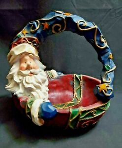 Vintage Resin Christmas Rustic Wizard Santa Candy / Trinket Basket Very Colorful