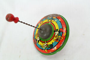 WALT DISNEY SPINNING TOP BY FRITZ BUESCHEL MICKEY MOUSE DONALD DUCK TIN 1930S