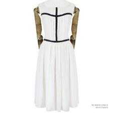 Thomas Wylde White Black Studded Leather Detail Floaty Silk Chiffon Dress M UK10