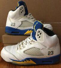 80b6f6891e2 Nike Air Jordan 2013 Retro V 5 Laney White/Blue/Yellow Men's Size 7.5