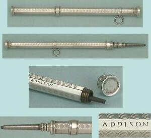 Antique Amer Sterling Silver Mechanical Pencil/Seal by Addison & Co * Circa 1840