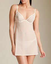 La Perla Studio Camelia 32B XS Babydoll Thong Set White Pink New