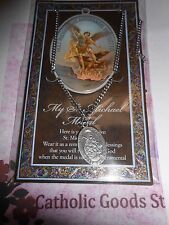 """Pewter - Saint Michael - 1.125"""" medal on chain & Pamphlet"""