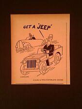 1946 Wills Jeep~Overland Motors Promo Car Auto O. Soglow Cartoon Comic Art AD