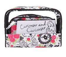 New Disney Alice In Wonderland 3 Pack Curiouser Cosmetic Bags