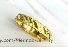 24K Solid Pure Gold Diamond cut Band Ring 5.61 Grams. Size 7.5