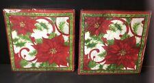 C.R. Gibson Christmas Dinner Napkins 2 New Packages Joyful Poinsettia 40 Count
