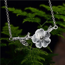 Silver Branch Shell Sakura Cherry Blossom Flower Pendant Necklace Chain 22inch