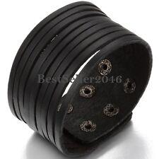 Men's Women's Black Multi Belt Wide Leather Cuff Bangle Adjustable Bracelet