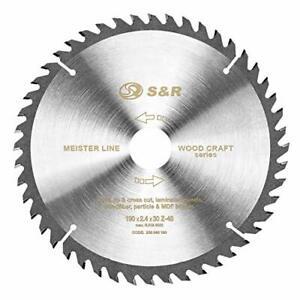 S&R Disque Lame de Scie Circulaire 190 x 30 x 2,4mm 48 dents Coupe BOIS