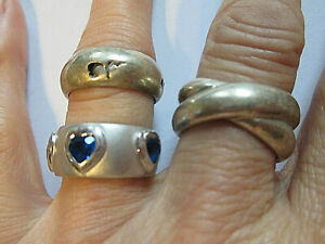 3 breite Ringe - alle echt Silber 925