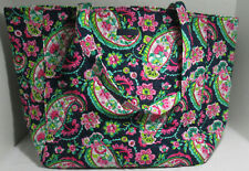 Vera Bradley Women Women's Grand Tote 2.0 Bag Purse PETAL PAISLEY on navy blue