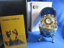 Blue Egg with Clock Trinket Box by Keren Kopal Faberge Egg Austrian Crystal