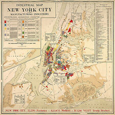 1922 New York City Industrial Map Home School Office Wall Art Poster Print Decor