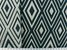 Drapery Upholstery Fabric Reversible Chenile Jacquard Diamond Design - Teal/Navy