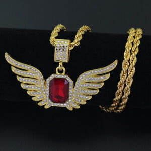 Hip Hop large Angel Wings with Big Red Stone Pendant Necklace Men Women Iced Out