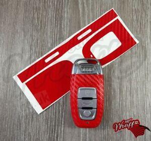 Red Carbon Fiber Key Wrap Cover Audi SMART Remote A1 A3 A4 A5 A6 A8 TT Q3 5 Q7