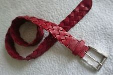"""Belt,TOM TAILOR,Size 32""""-36"""",Braided,Genuine Leather,Red,Women's"""