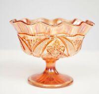 Vintage Carnival Glass Footed Bowl Art Deco Marigold Lustre Trinket Dish Sundae