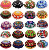 "Indian Uzbek Suzani Cushion Cover Ethnic Embroidered Pillow Case 16""Round Pillow"