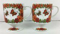 Vintage 2 Flower Power Pedestal Coffee Mugs Butterflies Flowers Orange Red Japan