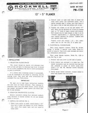 "Delta 22-101 13"" x 5"" Planer Instructions Manual & Parts List PDF"