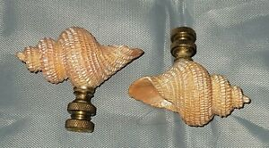Pair of Cast Resin Seashell Finials..Lovely Touch to Any Lamp..As is. No returns