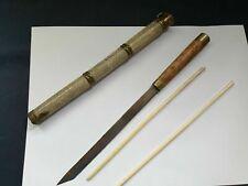 Japanese Trousse Eating Set Tanto Knife & 2 Chopsticks Stingray Skin Antique