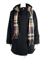 Gallery Women's Coat Jacket Anorak Placket Scarf Hooded Black Plus Size 3X New