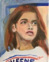 Original Jeffrey Lloyd Barnes 8x10 Portrait Painting Young Redhead Woman