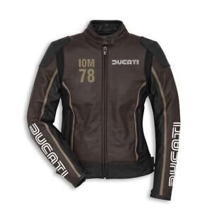 Ducati Iom Isle Of Man Ladies Leather Jacket Lady Braun New