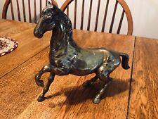 Vintage Brass Horse Stallion Heavy Statue
