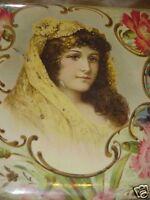 ANTIQUE VICTORIAN CELLULOID GYPSY LADY PORTRIAIT HANDERCHIEF VANITY DRESSER BOX