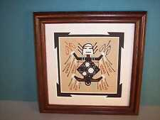 """Navajo Framed Sand Painting w/ Father Sky Figure by Wilton Lee 7"""" x 7"""" NEW"""