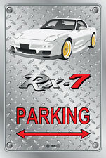 Parking Sign Metal Mazda RX-7 Series 6 - White with Gold Rims - Checker Look