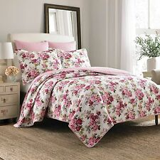Laura Ashley PINK ROSE FLORAL, Cotton Reversible Bedspread Bedding Quilt Set New