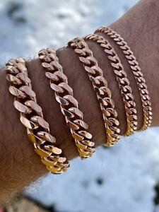 Mens Real Solid 925 Sterling Silver 14k Rose Gold Miami Cuban Bracelet 5-12mm