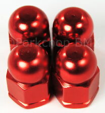 """Old school BMX style bicycle acorn axle nuts 3/8"""" X 26T (SET OF 4) RED"""