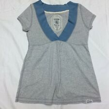 SuperDry Women's Short Sleeve Baby Doll Top  Grey w/ Blue neck band Sz Small